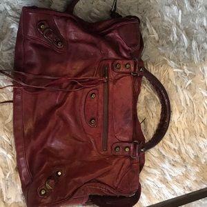 Balenciaga burgandy bag